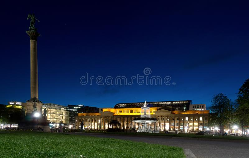 Stuttgart castle at night royalty free stock images