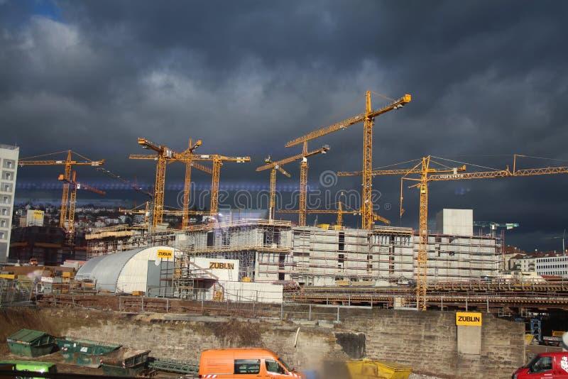 Stuttgart 21 - chantier de construction photo libre de droits