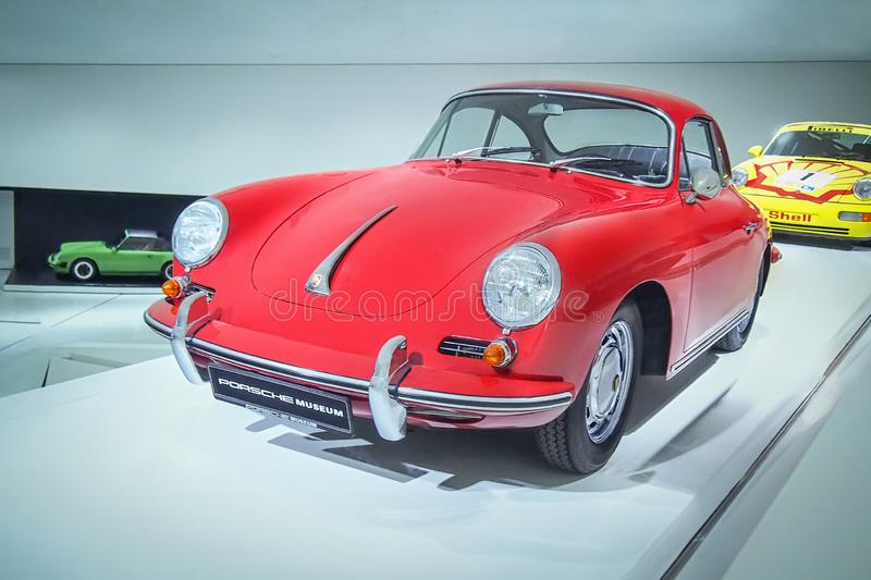 Porsche 356 B 1600 Super 90. STUTTGART, GERMANY-APRIL 7, 2017: Red 1963 Porsche 356 B 1600 Super 90  in the Porsche Museum stock images