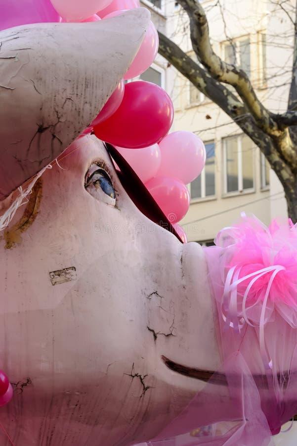 Pig float at Carnival parade, Stuttgart royalty free stock photo