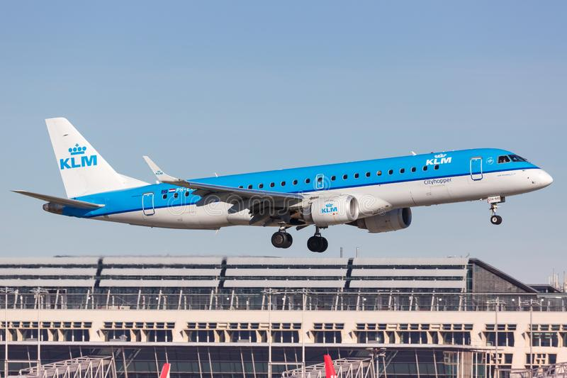 KLM cityhopper Embraer 190 airplane Stuttgart airport royalty free stock photography