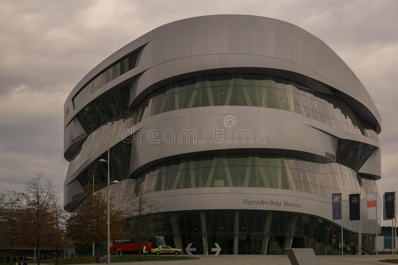 STUTTGART,GERMANY - MARCH 02,2019:Mercedesstrasse This is the big, modern Mercedes Benz Museum stock photo