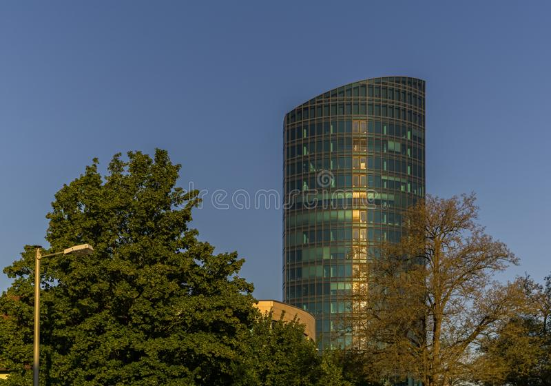STUTTGART,GERMANY - MAY 25,2018: Industriestrasse This is the modern Colorado Tower stock photo