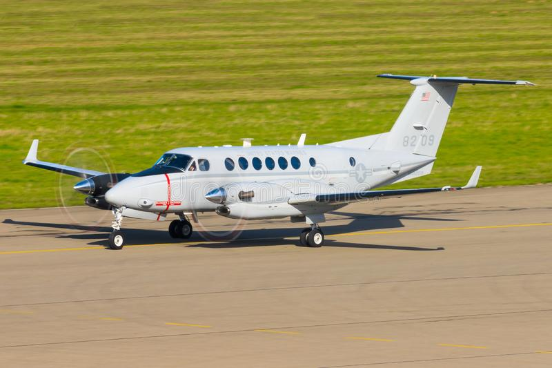 USAF KING AIR  at Stuttgart Airport. Stuttgart/Germany October 26, 2019: USAF KING AIR  at Stuttgart Airport stock photography
