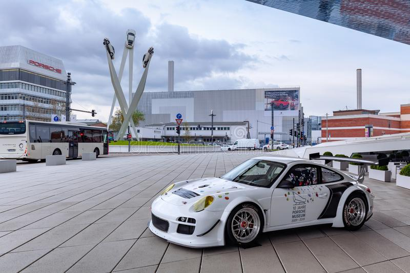 Porsche museum on Porscheplatz in Zuffenhausen, 10 years celebration stock images