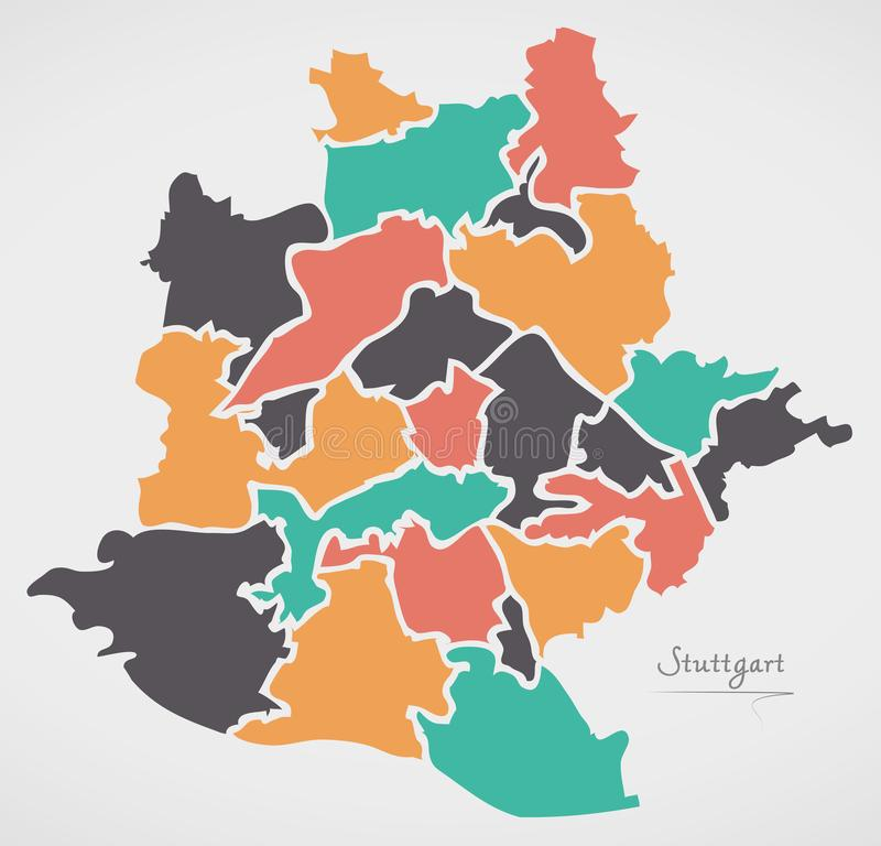Stuttgart Map with boroughs and modern round shapes. Illustration vector illustration