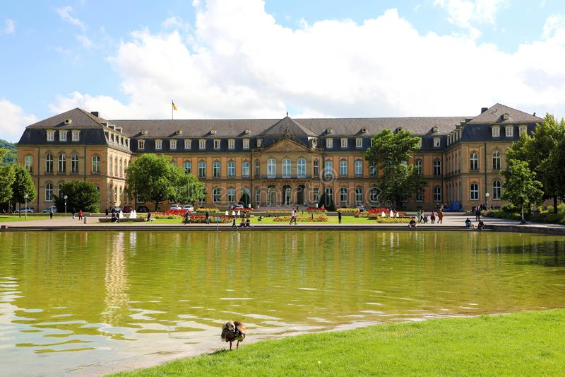 STUTTGART NIEMCY, CZERWIEC, - 12, 2019: Minister Finansów Baden-Wuerttemberg w Oberer Schloßgarten parku, Stuttgart, Niemcy zdjęcie royalty free