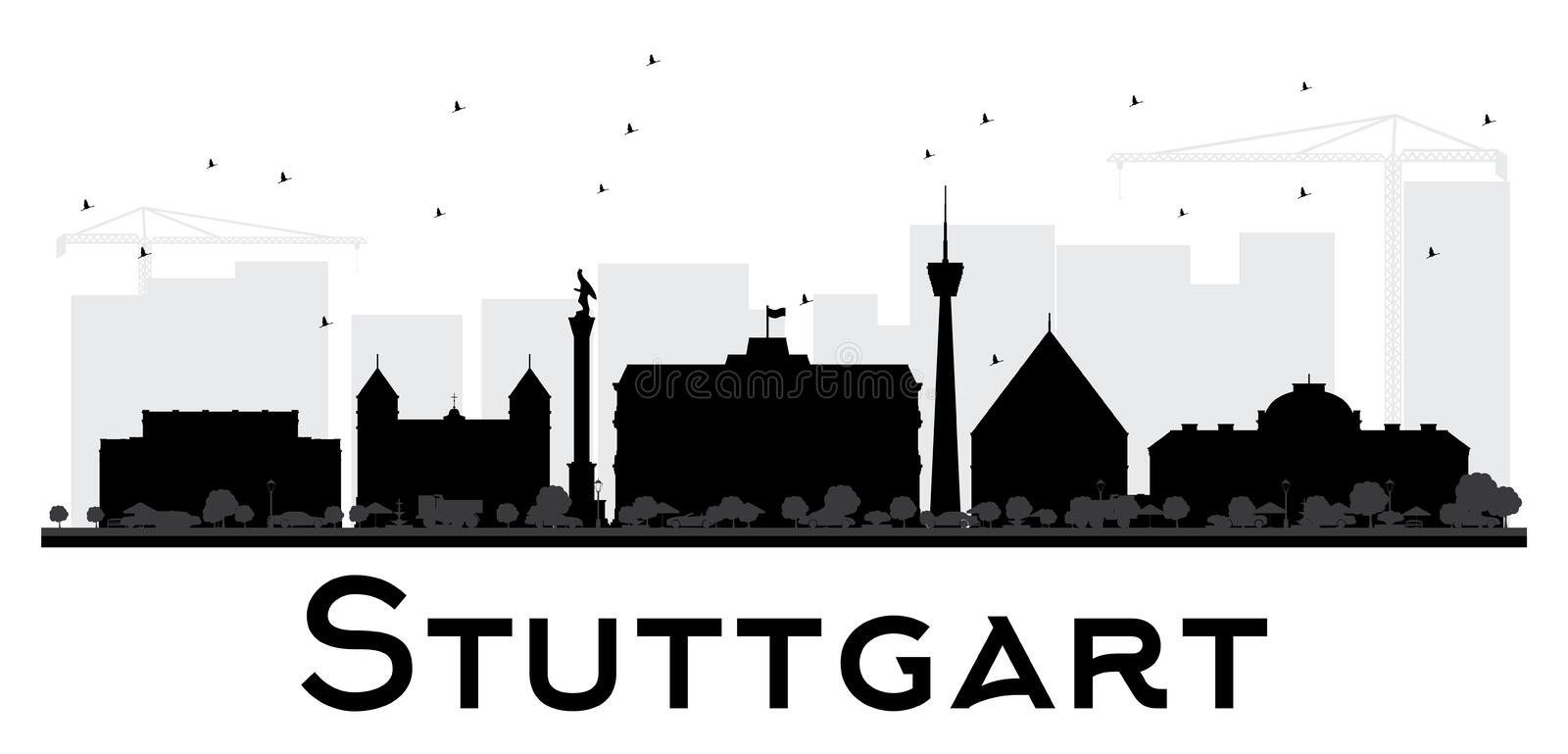 stuttgart stadtskyline schwarzweiss schattenbild vektor abbildung illustration von panorama. Black Bedroom Furniture Sets. Home Design Ideas