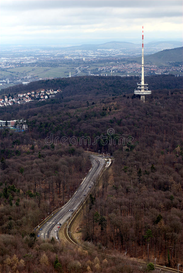 Stuttgart Telecommunication Tower. View from Stuttgart's TV tower to Stuttart Telecommunication Tower located at the Frauenkopf hill stock photo