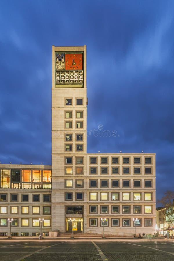 Stuttgart Town Hall at Night stock photography