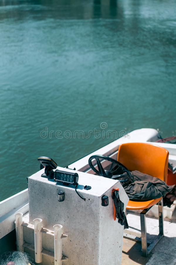 Stuurwiel van een motorboot royalty-vrije stock fotografie