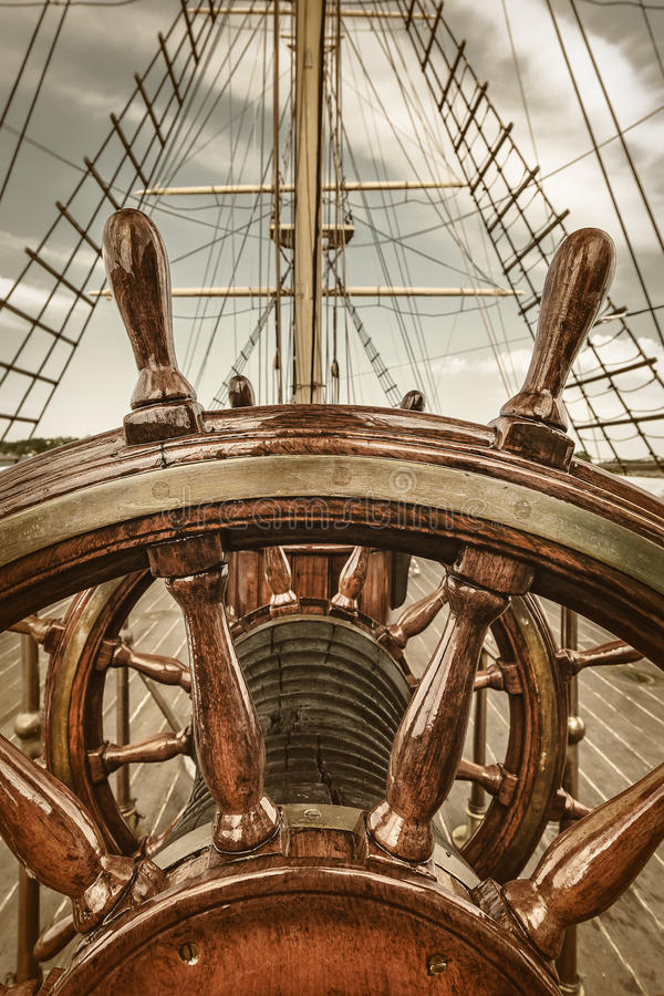 Stuurwiel van een zeilboot royalty-vrije stock foto