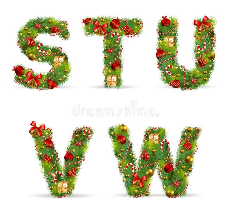 STUVW, fuente del árbol de navidad stock de ilustración