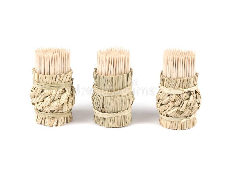 Stuzzicadenti di legno isolati su fondo bianco fotografia stock libera da diritti
