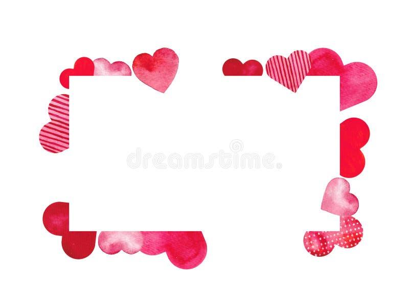 stValentine karta z czerwieni i menchii akwareli sercami royalty ilustracja