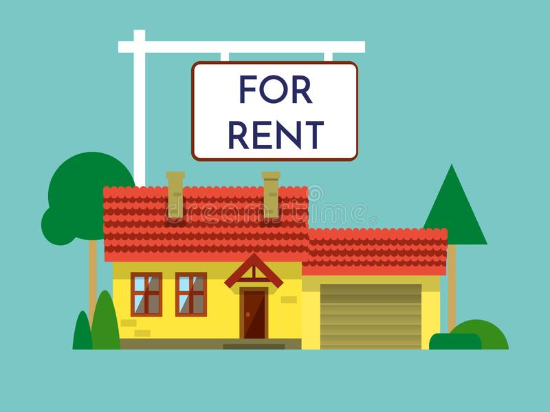Stwarza ognisko domowe dla czynszowej ikony Real Estate pojęcie, szablon dla sprzedaży, wynajem, reklamuje Dom z znakiem odizolow ilustracji