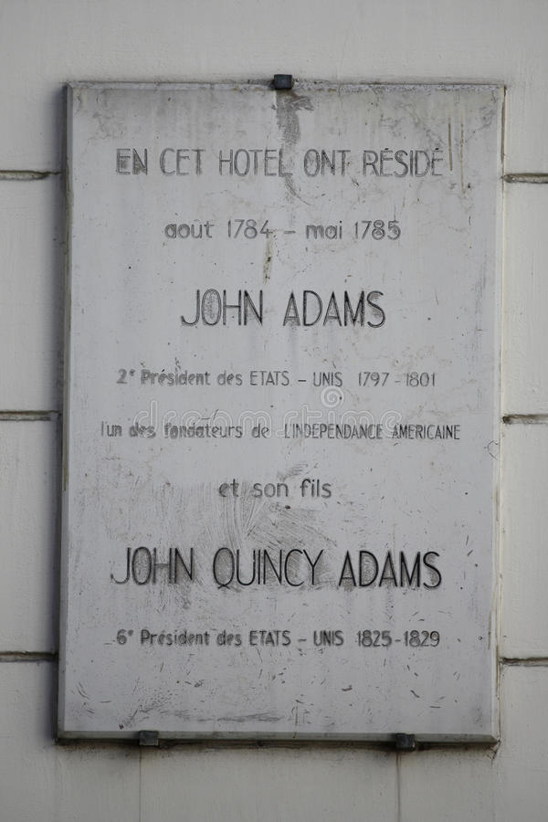 Stwarza ognisko domowe dwa prezydenta, John Adams i John Quincy Adams żyjący tutaj w przy 45 rut d Auteuil, 1784 i 1785, 16th arr fotografia stock
