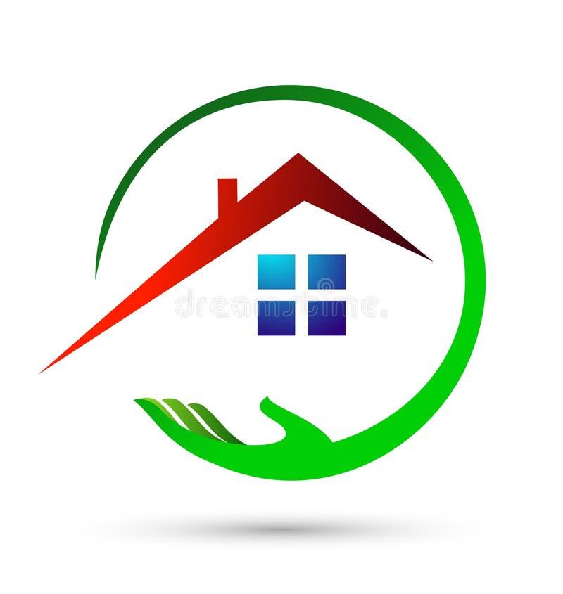 Stwarza ognisko domowe, mieści, nieruchomość, logo, okręgu budynek, architektura, dom rośliny natury symbolu ikony projekta wekto ilustracja wektor