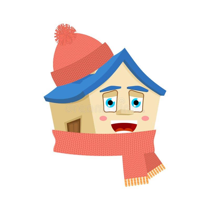 Stwarza ognisko domowe w szaliku Rozgrzewkowy dom r?wnie? zwr?ci? corel ilustracji wektora ilustracja wektor