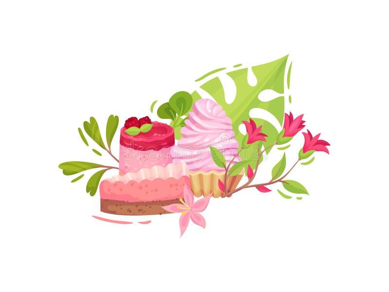 Stycke av chokladkakan, hallonkakan med bär och korgen med frodig kräm white f?r vektor f?r bakgrundsillustrationhaj royaltyfri illustrationer