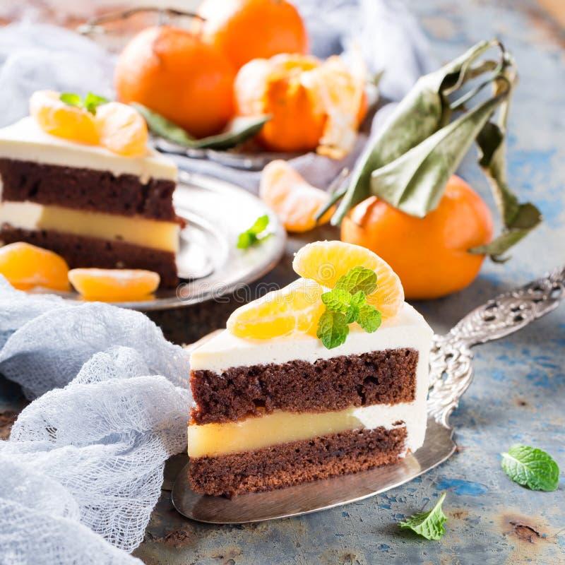 Stycke av den läckra chokladkakan arkivbilder