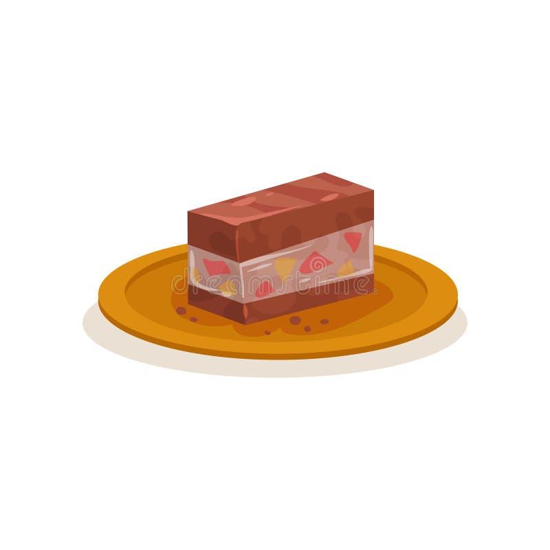 Stycke av den traditionella malaysiska kakan Söt efterrätt på plattan Ny räkabakgrund Plan vektorsymbol stock illustrationer