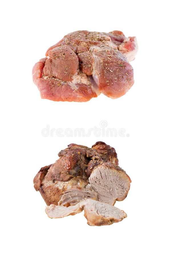 Stycke av griskött före och efter som lagar mat arkivbilder