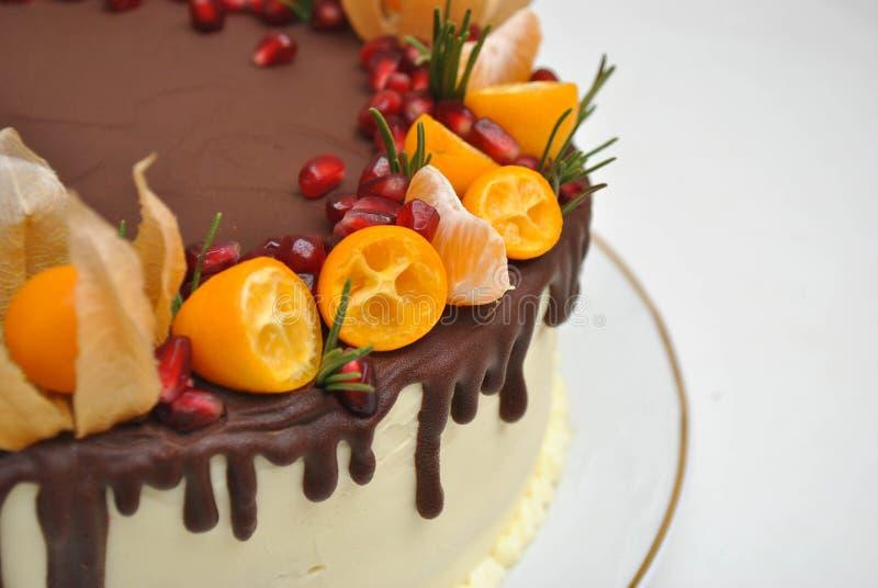 Stycke av kakan med chokladisläggning och citrusgarnering Tangerinkaka, med granatäpplefrö close upp Efterrätt Bakelse och De fotografering för bildbyråer