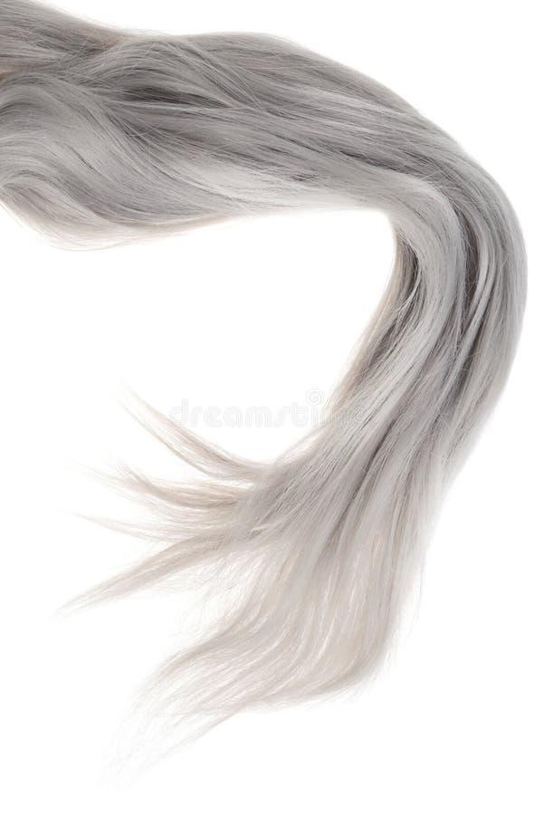 Stycke av långt grått hår arkivbild