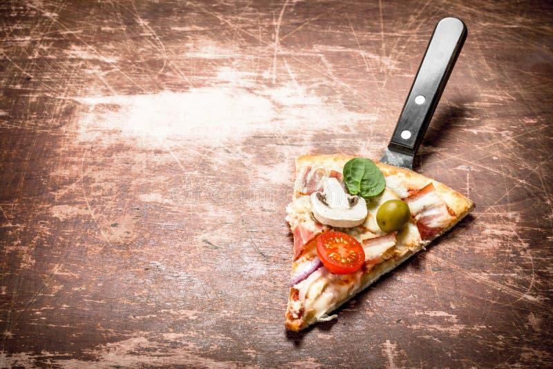 stycke av ny italiensk pizza royaltyfria bilder