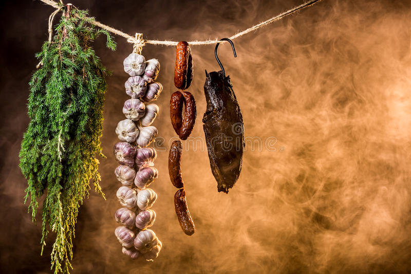 Stycke av nytt rökt skinka arkivfoton