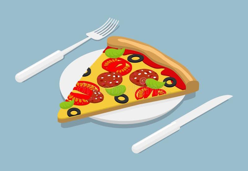 Stycke av pizzaisometrics italiensk mat 3D på plattan Bestick för royaltyfri illustrationer