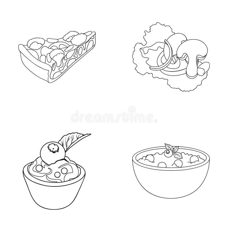 Stycke av vegetarisk pizza med tomater, grönsallatsidor med champinjoner, blåbärkaka, vegetarisk soppa med gräsplaner royaltyfri illustrationer