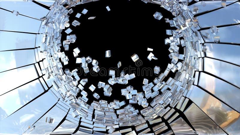 Stycken av brutet isolerat spegelexponeringsglas arkivfoton