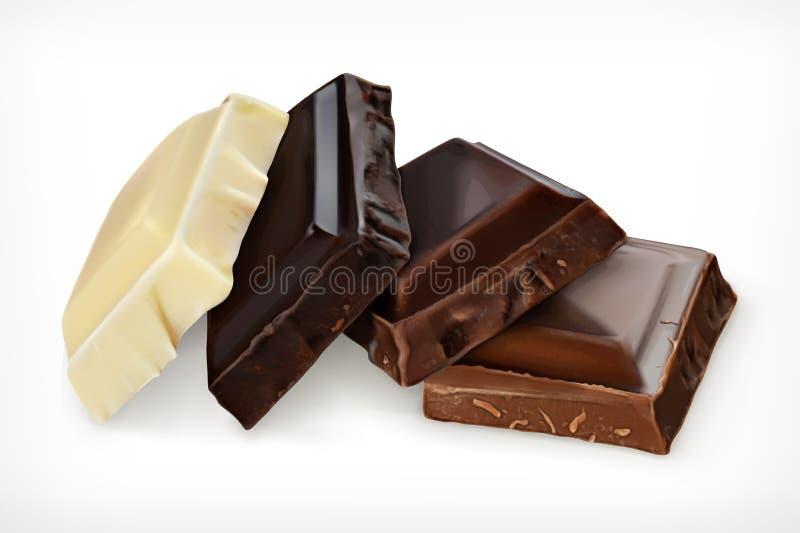 Stycken av chokladsymbolen vektor illustrationer
