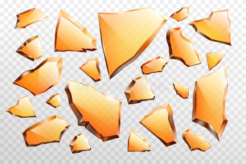 Stycken av den realistiska vektoruppsättningen för brutet exponeringsglas vektor illustrationer