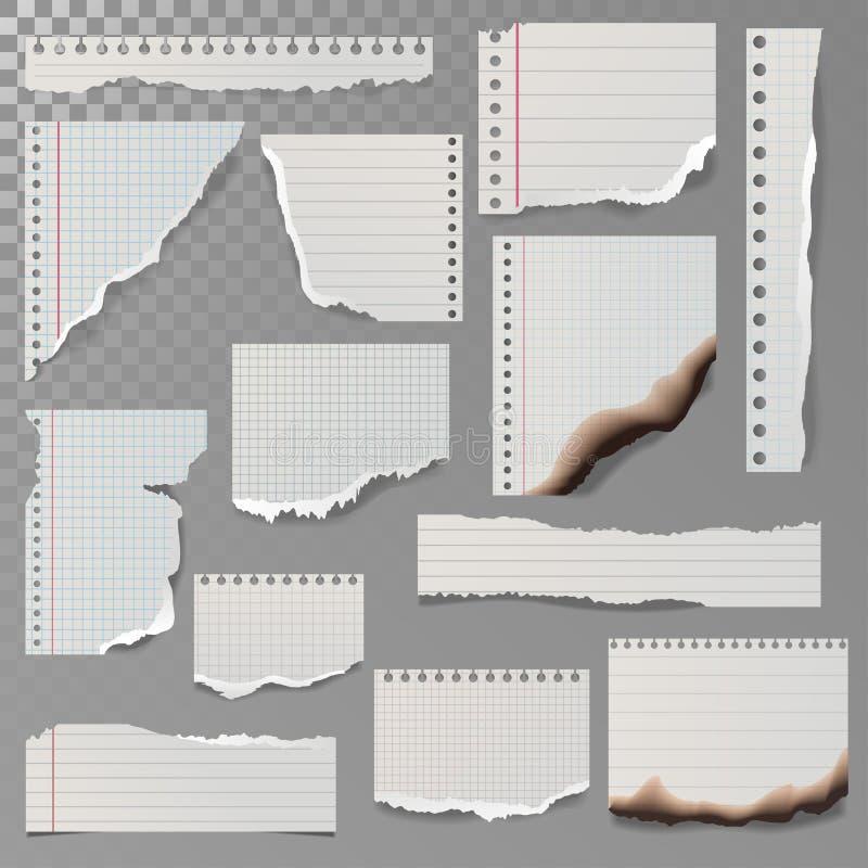 Stycken av den sönderriven vit fodrade anteckningsbokpappersfyrkanten fodrar trasavit och den brända sidavektorillustrationen stock illustrationer