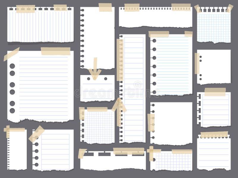 Stycken av det sönderrivna vitmellanrumet fodrade anmärkningspapper med det färgrika klibbiga bandet på grå bakgrund stock illustrationer