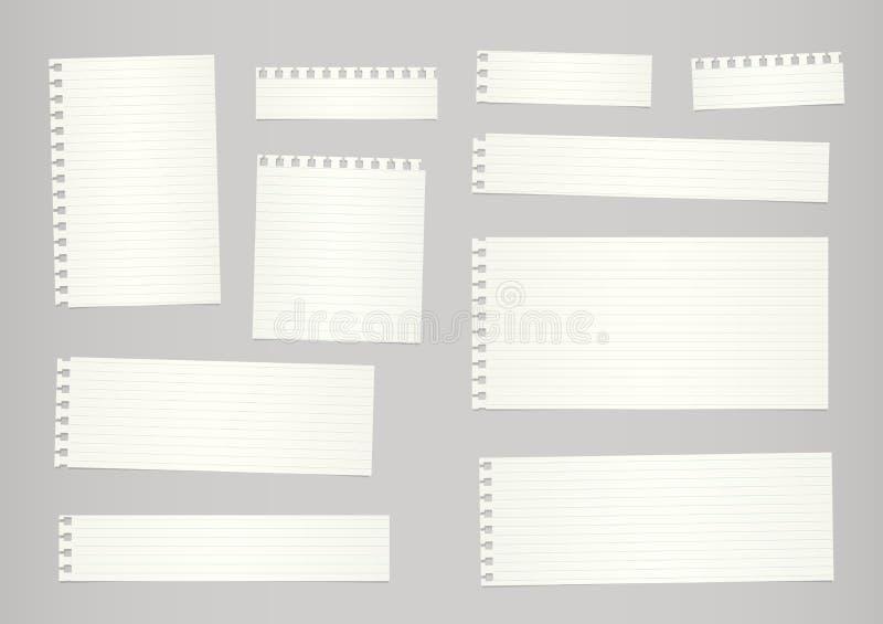 Stycken av för snitt beige härskat anteckningsbokpapper ut klibbas på grå bakgrund vektor illustrationer