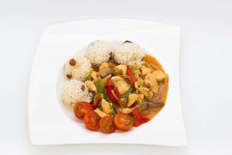 Stycken av höna med ris royaltyfria foton