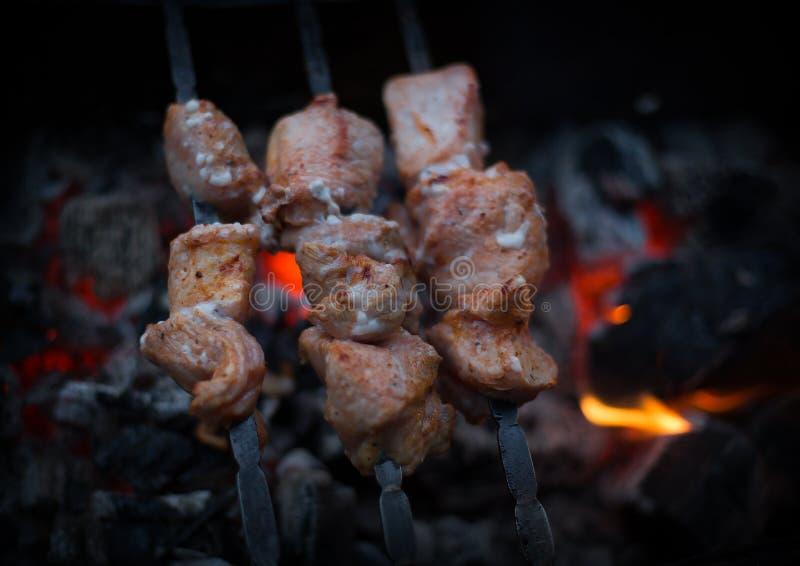 Stycken av kött som strängas på metallsteknålar - stekt kebab på en öppen brand royaltyfri bild