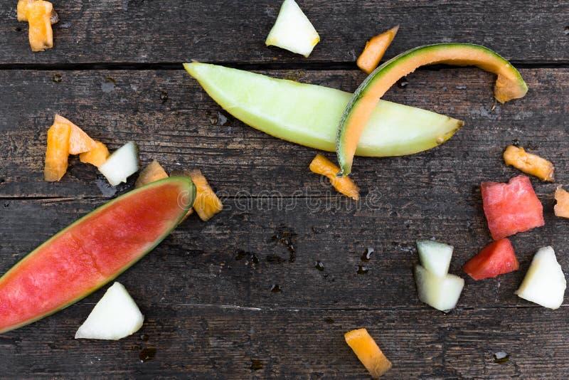 Stycken av olika melon royaltyfria foton