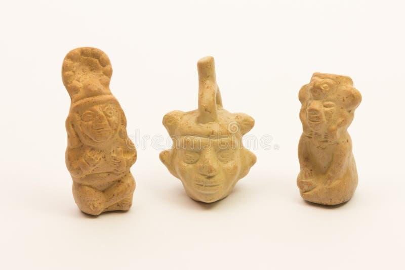 Stycken av peruansk krukmakeri, keramisk inca arkivfoto