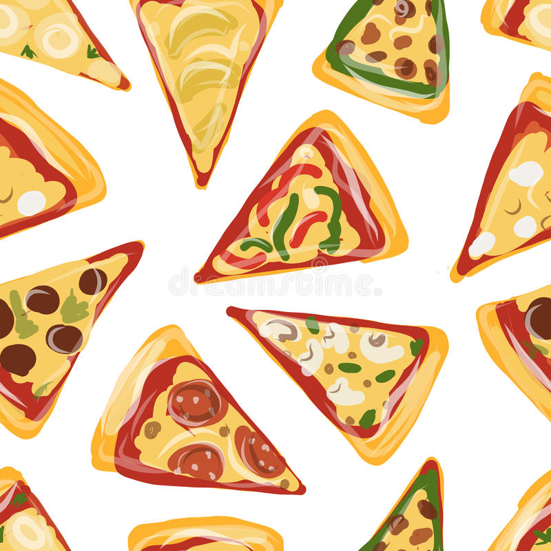 Stycken av pizza, sömlös modell för din design stock illustrationer