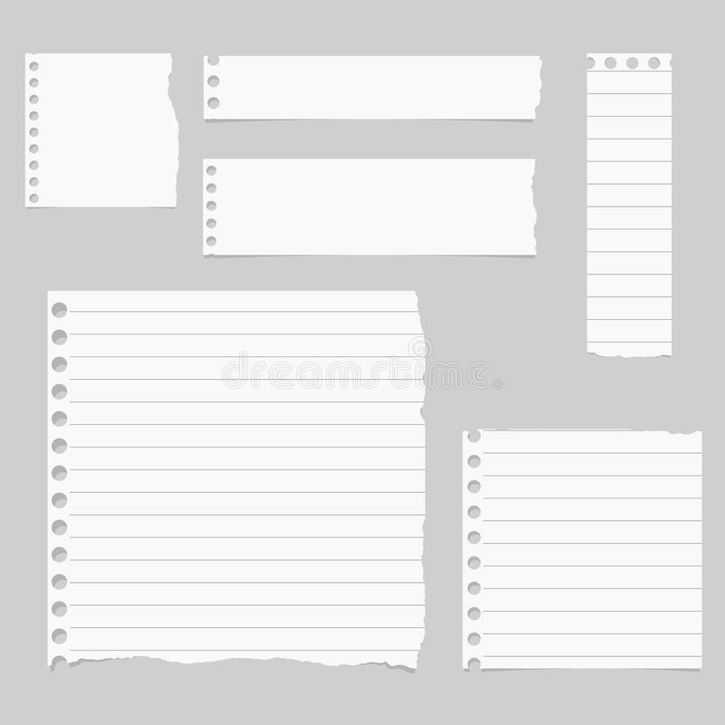 Stycken av sönderriven vit fodrat anteckningsbokpapper klibbas på grå bakgrund vektor illustrationer