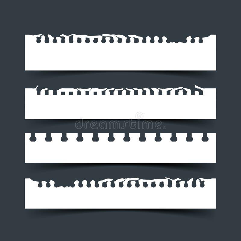 Stycken av sönderrivet anteckningsbokpapper för vit vektor på mörker - grå bakgrund vektor illustrationer