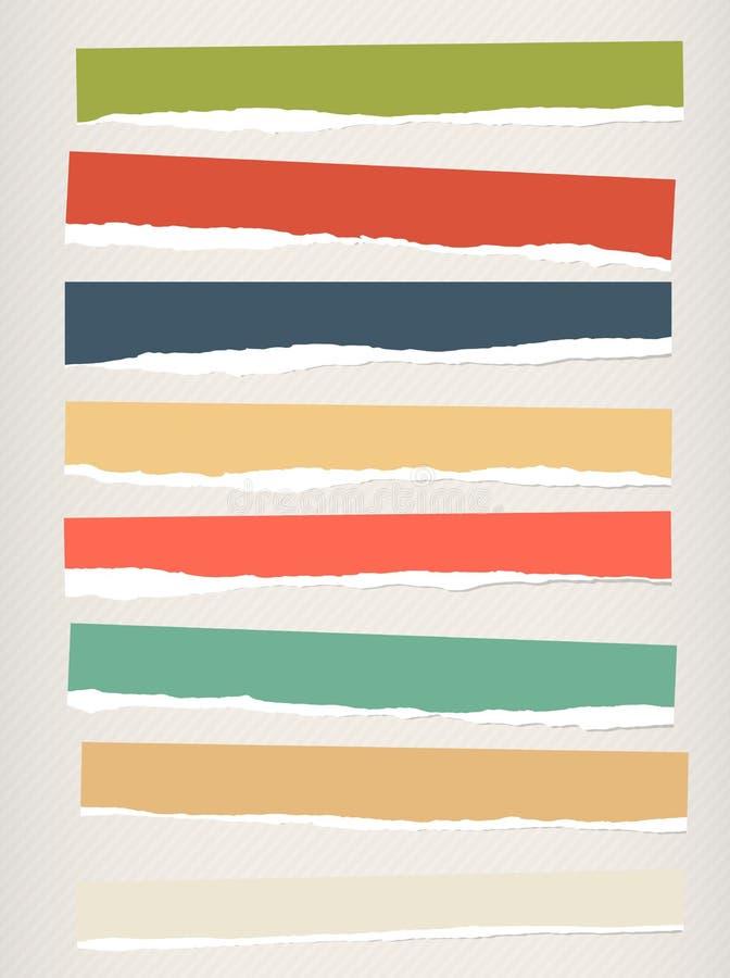 Stycken av sönderrivet färgrikt tomt papper klibbas på randig bakgrund stock illustrationer
