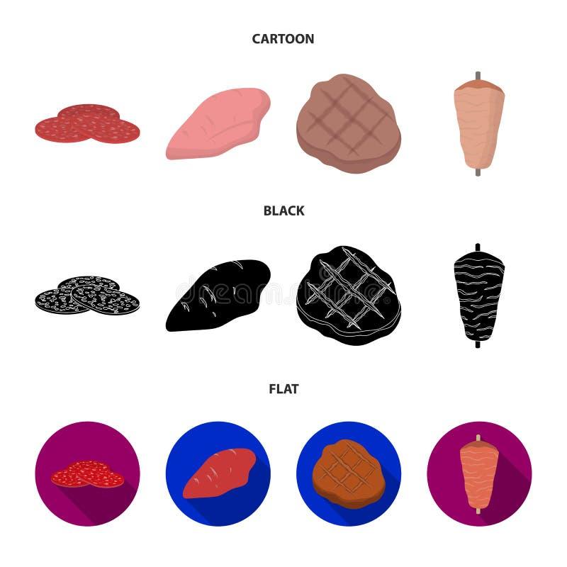 Stycken av salami, kalkonfilé, grillade biff, kebab Fastställda samlingssymboler för kött i tecknade filmen, svart, lägenhetstilv vektor illustrationer