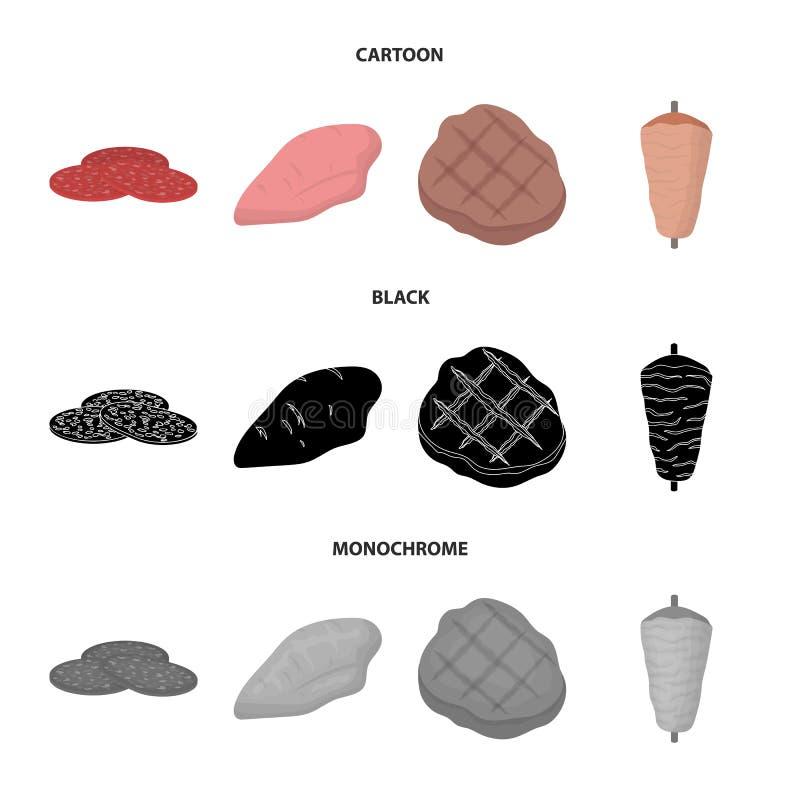 Stycken av salami, kalkonfilé, grillade biff, kebab Fastställda samlingssymboler för kött i tecknade filmen, svart, monokrom stil royaltyfri illustrationer