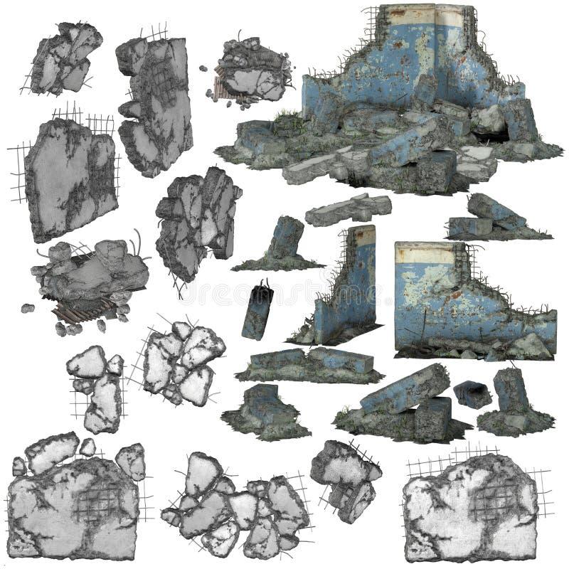 stycken 3D av skräp eller spillror stock illustrationer